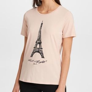KARL LAGERFELD. Blush color Eiffel Tower tee sizeM